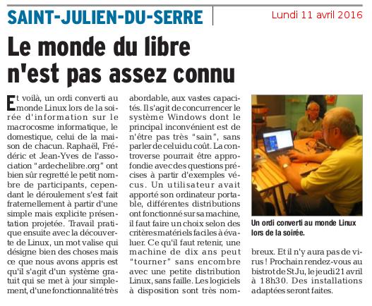 Monde du libre - Le Dauphiné Libéré - 11 avril 2016