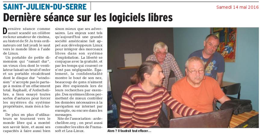Dernière séance sur les logiciels libres - Le Dauphiné Libéré - 14 mai 2016