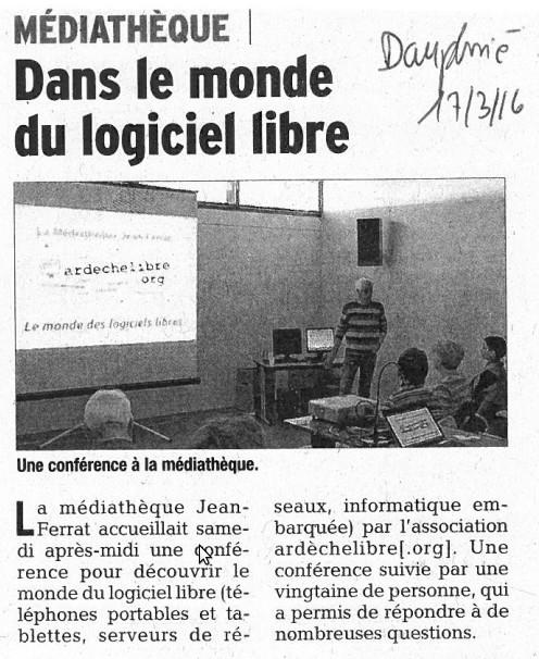 Dans le monde du logiciel libre - Le Dauphiné Libéré - 17 mars 2016